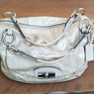 Coach satchel patent leather gray